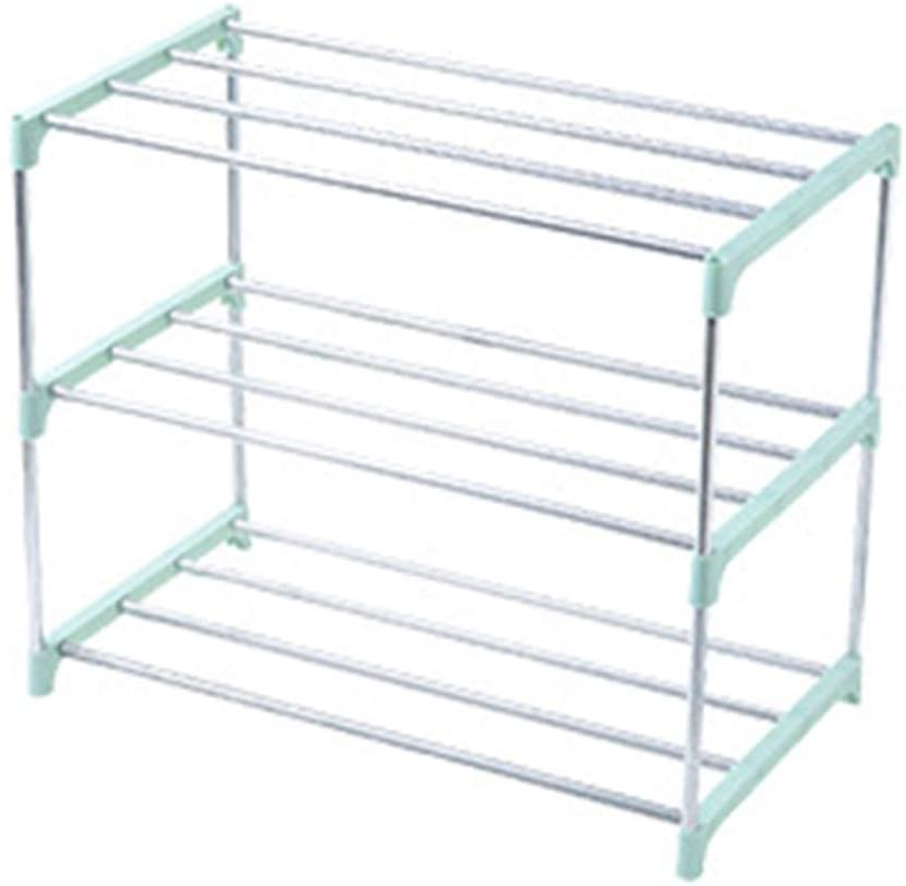 heaven2017 3/4 Shelf Shelving Storage Unit Metal Organizer Wire Rack for Bedroom Bathroom Entryway, Suction Cup Stand Foot  Green 4 Layers
