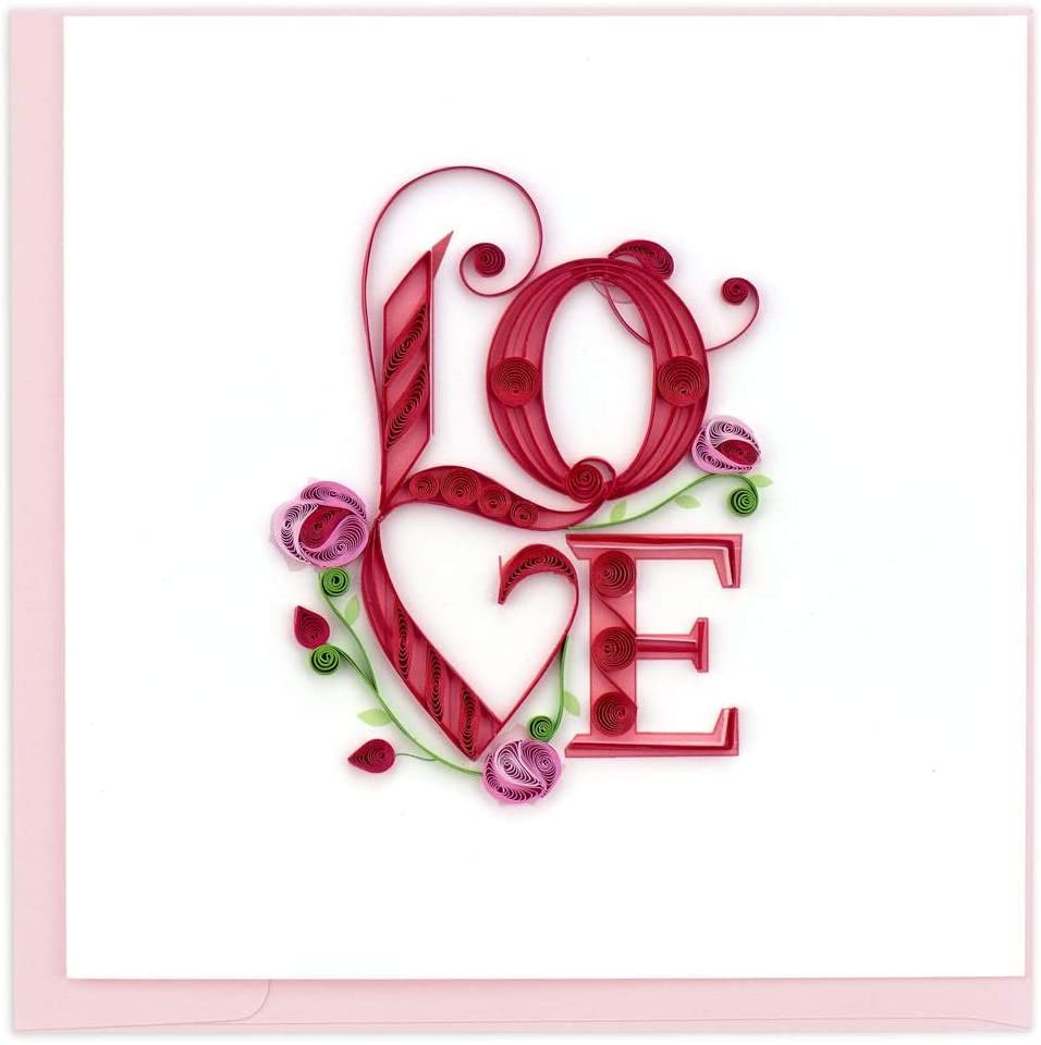 Quilling Card 3-D Greeting Card - Love