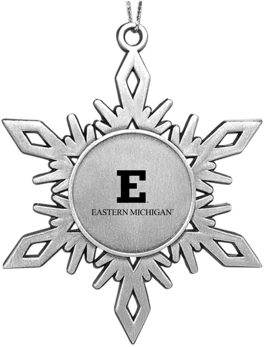 LXG, Inc. Eastern Michigan University Snowflake Ornament Pewter