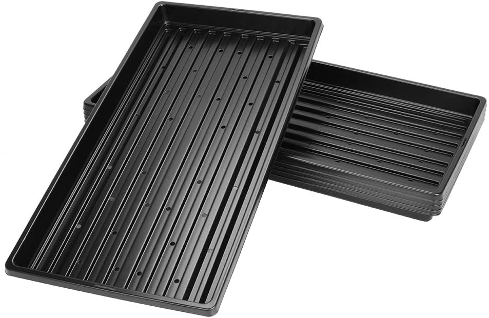 J&D 5 Packs Trays, 10 x 20 Inches Propagation Starter Seedling Tray 1020 Plant Growing Trays with Drain Holes for Plant Germination Microgreens, 5 Packs