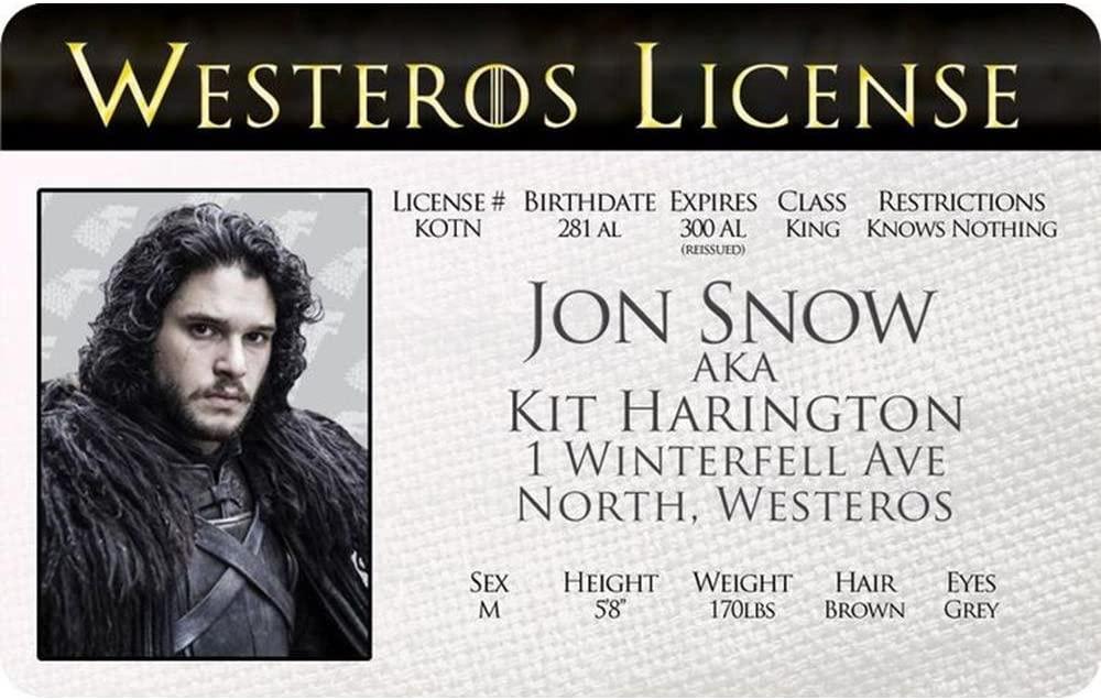 Signs 4 Fun Ngtidjs Got Jon Snow's Driver's License