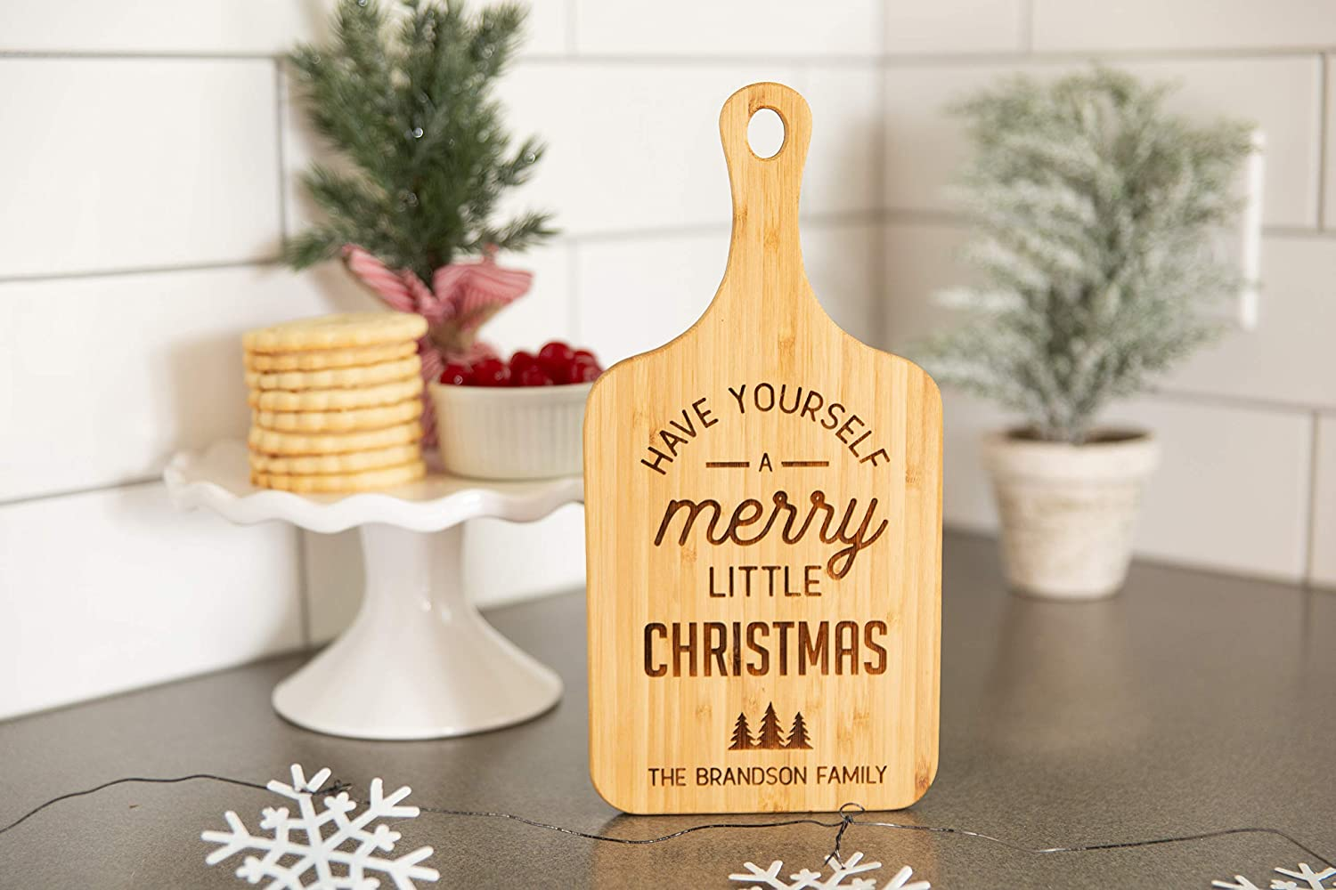 Personalized Christmas Cutting Board, Kitchen Gift for Couples and Family (5 x 11 Bamboo Paddle Shaped, Have Yourself a Merry Little Christmas Design)