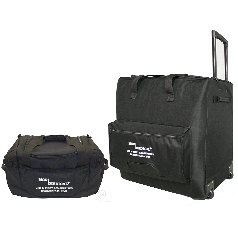 CPR Manikin Carryall Bag Combo w. Large Wheeled Bag & Small Bag w. Shoulder Strap