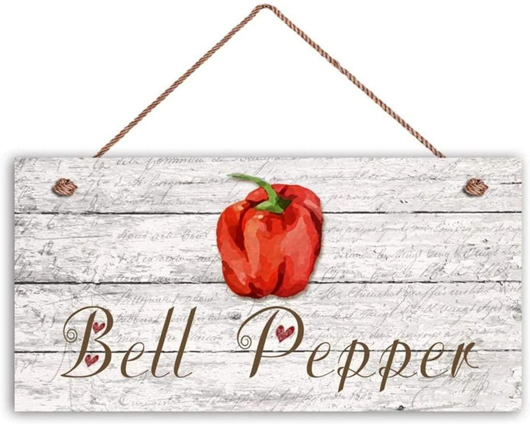 LPLED Bell Pepper Sign, Garden Sign, Rustic Decor, Distressed Wood, 10x5 Sign, Vegetable Sign, Gift for Gardener(ZY1058)