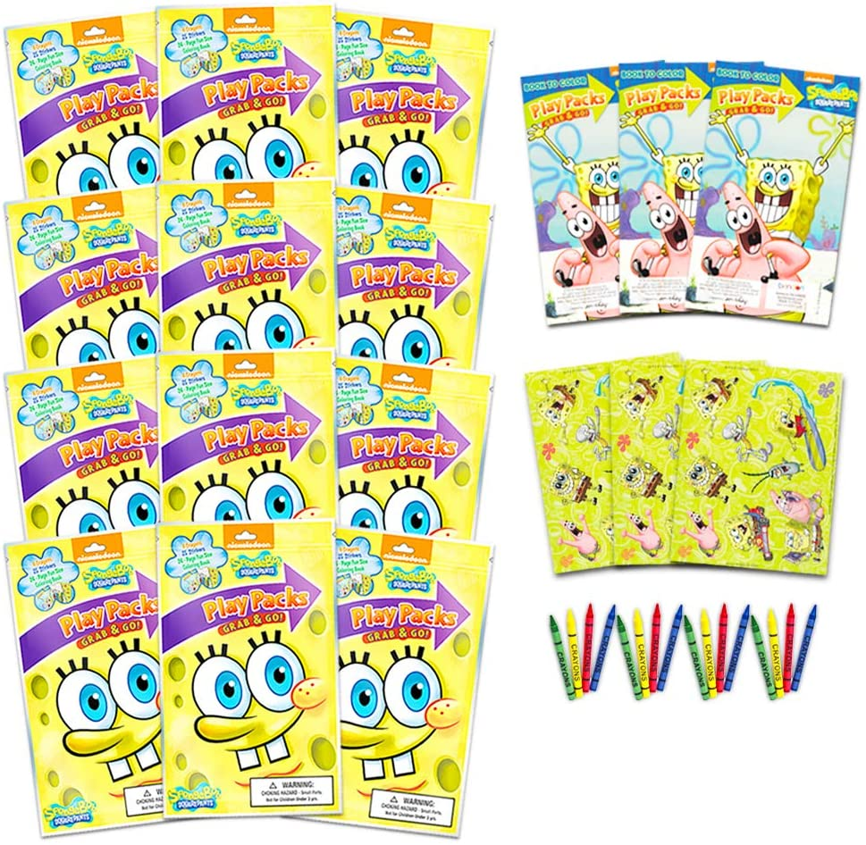 Nickelodeon Spongebob Squarepants Party Favors Pack ~ Bundle of 12 Spongebob Squarepants Play Packs with Stickers, Coloring Books, Crayons (Spongebob Party Supplies)