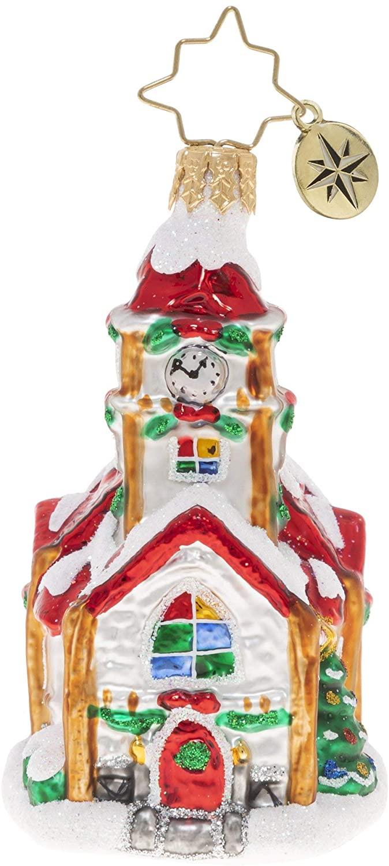 Christopher Radko Hand-Crafted European Glass Christmas Ornament, Christmas Chapel Gem