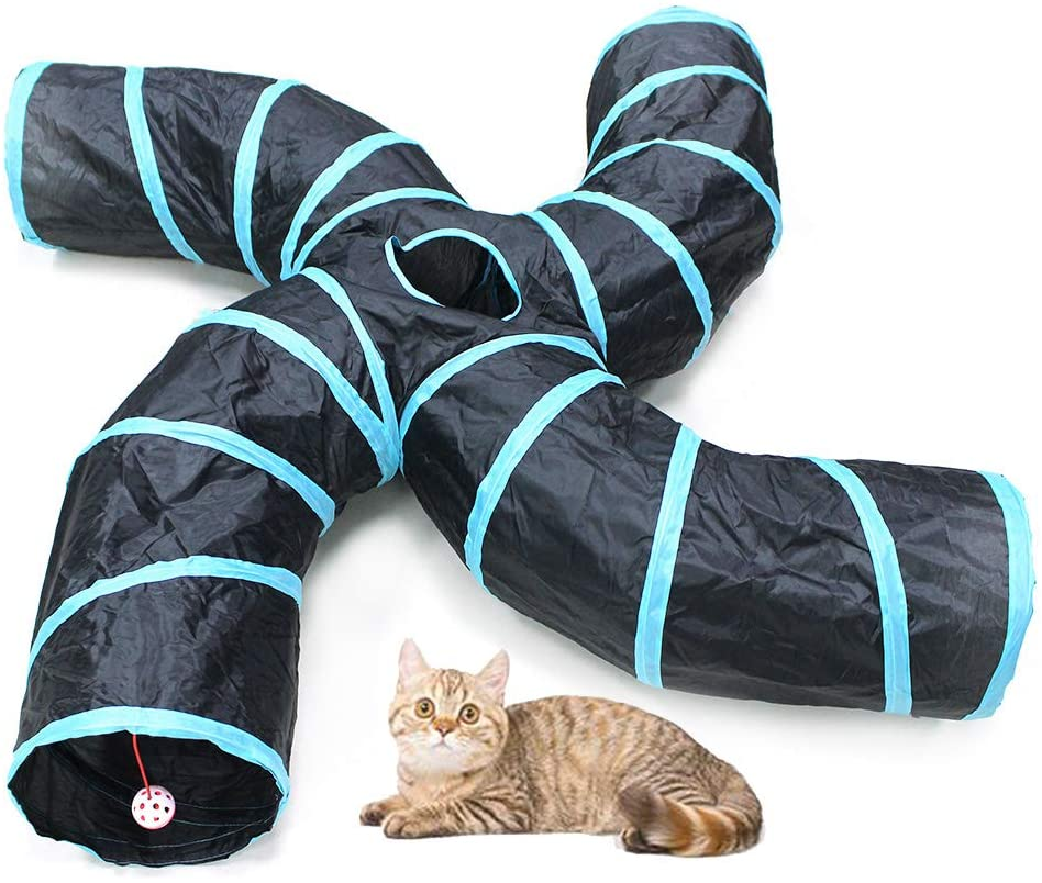 Bemodst S-Type Cat Tunnel, 2 Way/3 Way/4 Way/5 Way Collapsible S-Shape Small Animal Tubes Kitty Tunnels Interactive Maze House Toy with Storage Bag for Kitten Puppy Rabbit Guinea Pig …
