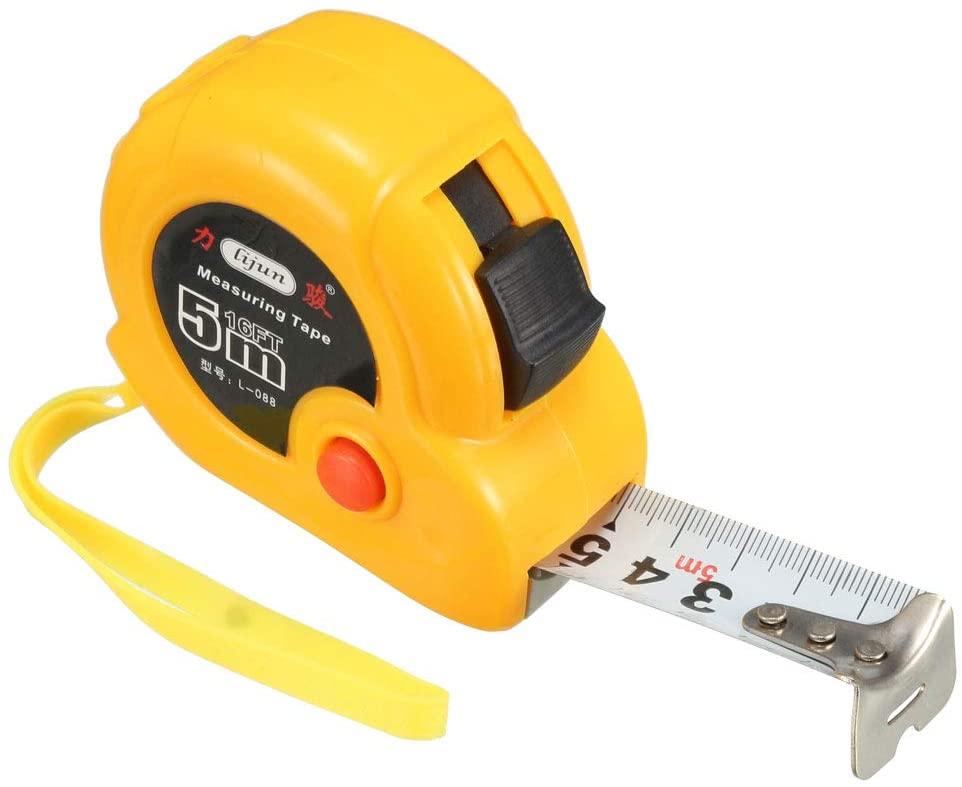 uxcell 5M Long Measure Tape Plastic Round Case Retractable Tape Width 25mm Orange