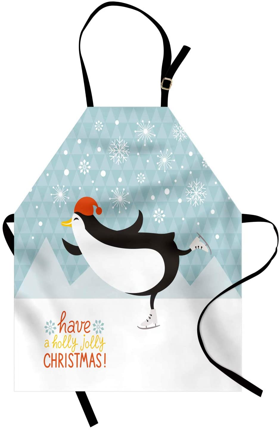 Lunarable Christmas Apron, Have a Holly Jolly Christmas Lettering with Ice Skating Cheerful Penguin Snowing, Unisex Kitchen Bib Apron with Adjustable Neck for Cooking Baking Gardening, Multicolor