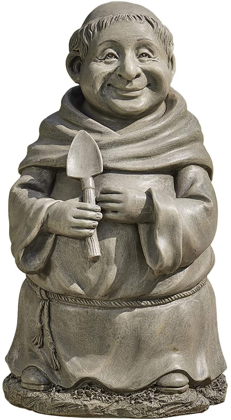 Roman Garden - Gardening Monk Statue, 12H, Pudgy Pals Collection, Resin and Stone, Decorative, Garden Gift, Home Outdoor Decor, Durable, Long Lasting