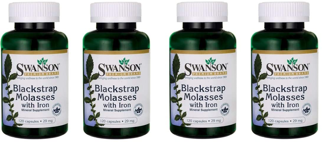 Swanson Blackstrap Molasses Elemental Iron (Ferrous Fumarate) 29 mg 120 Capsules (4 Pack)