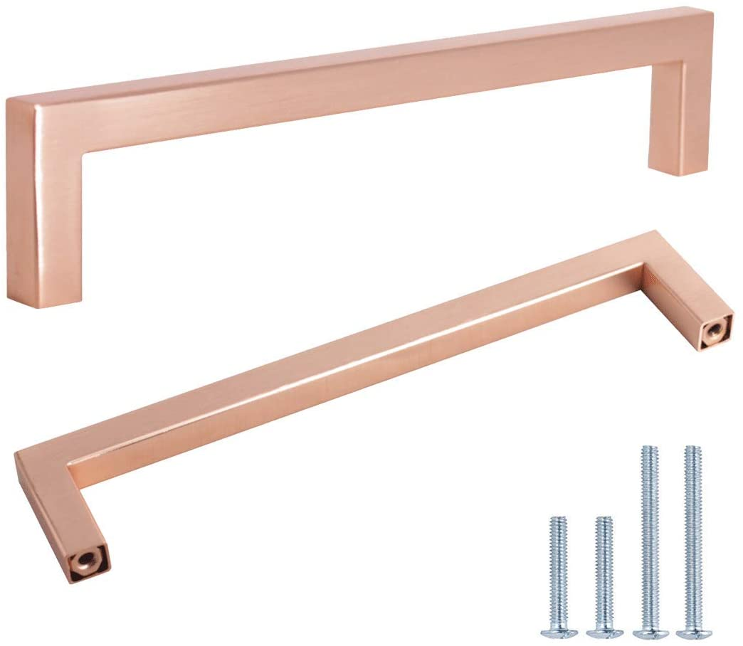 (10 Pack) 6-3/10 Cabinet Handles Rose Gold Cabinet Pulls Stainless Steel Kitchen Drawer Pulls Drawer Pull Dresser Handle,Diameter:10mm(2/5),Modern Square T Bar