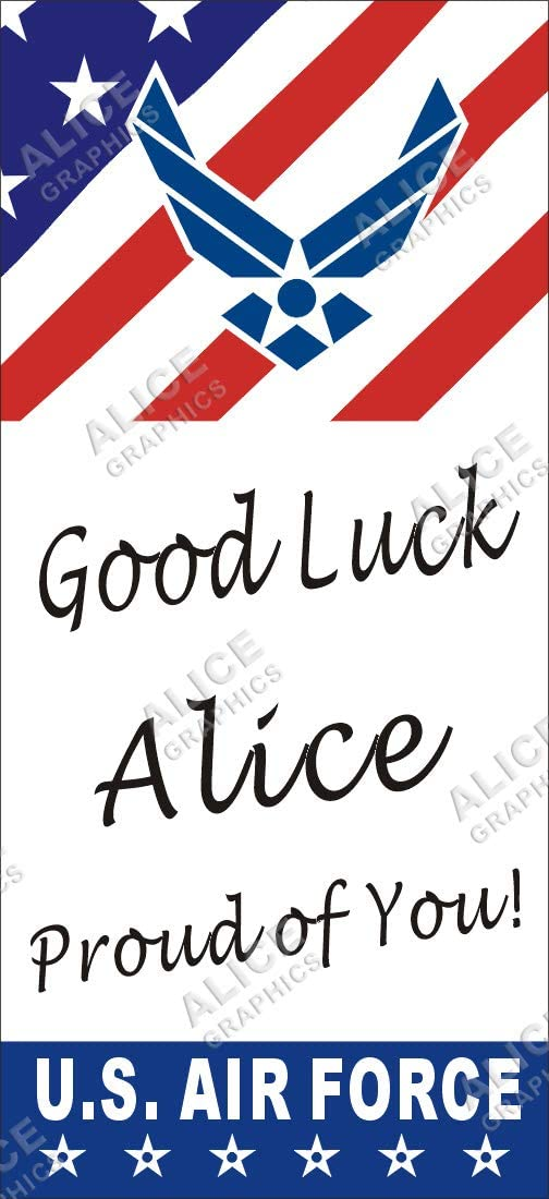 Alice Graphics 22 X 48 Custom Personalized US Air Force Going Away Goodbye Farewell Deployment Party Banner Sign - Good Luck at Air Force Boot Camp (V)