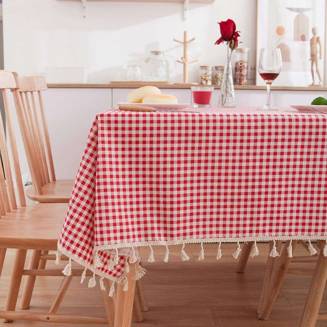 Pastoral Style Rectangular Table Cloth Linen Cotton Tablecloth Fabric Daisy Flower Printed Home Kitchen Decor