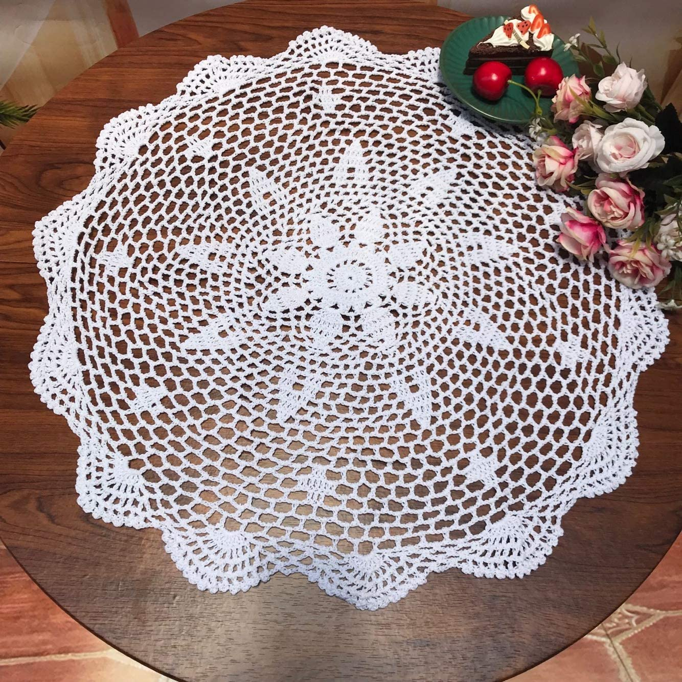 Damanni Cotton Handmade Crochet Lace Tablecloth Doilies Doily,Round,White,19 Inch