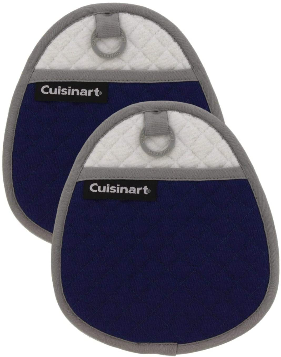 Cuisinart Quilted Silicone Pot Holders and Oven Mitts with Soft Insulated Pockets, 2pk - Heat Resistant Hot Pads, Potholder, Trivets with Non-Slip Grip to Safely Handle Hot Cookware - Navy Aura
