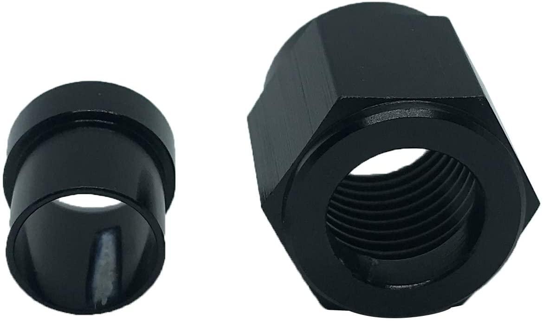 8AN Female Tube Nut and Sleeve Aluminum Hardline Fitting for 1/2 inch Tube Hose Line Adapters Black