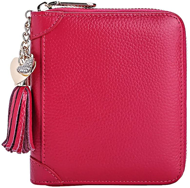 Multi-Function Credit Card Holder Wallet Zip Leather Card Organizer, Red