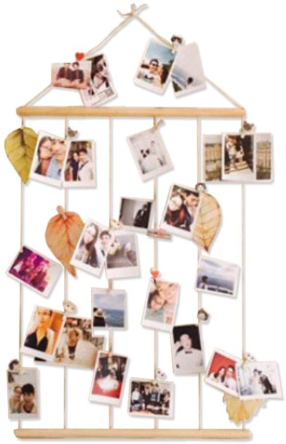 ASENART Hanging Photo Display Picture Frames Wall Decor Collage Pictures Organizer with 12 Wooden Clips for Hanging Photos, Prints and Artwork