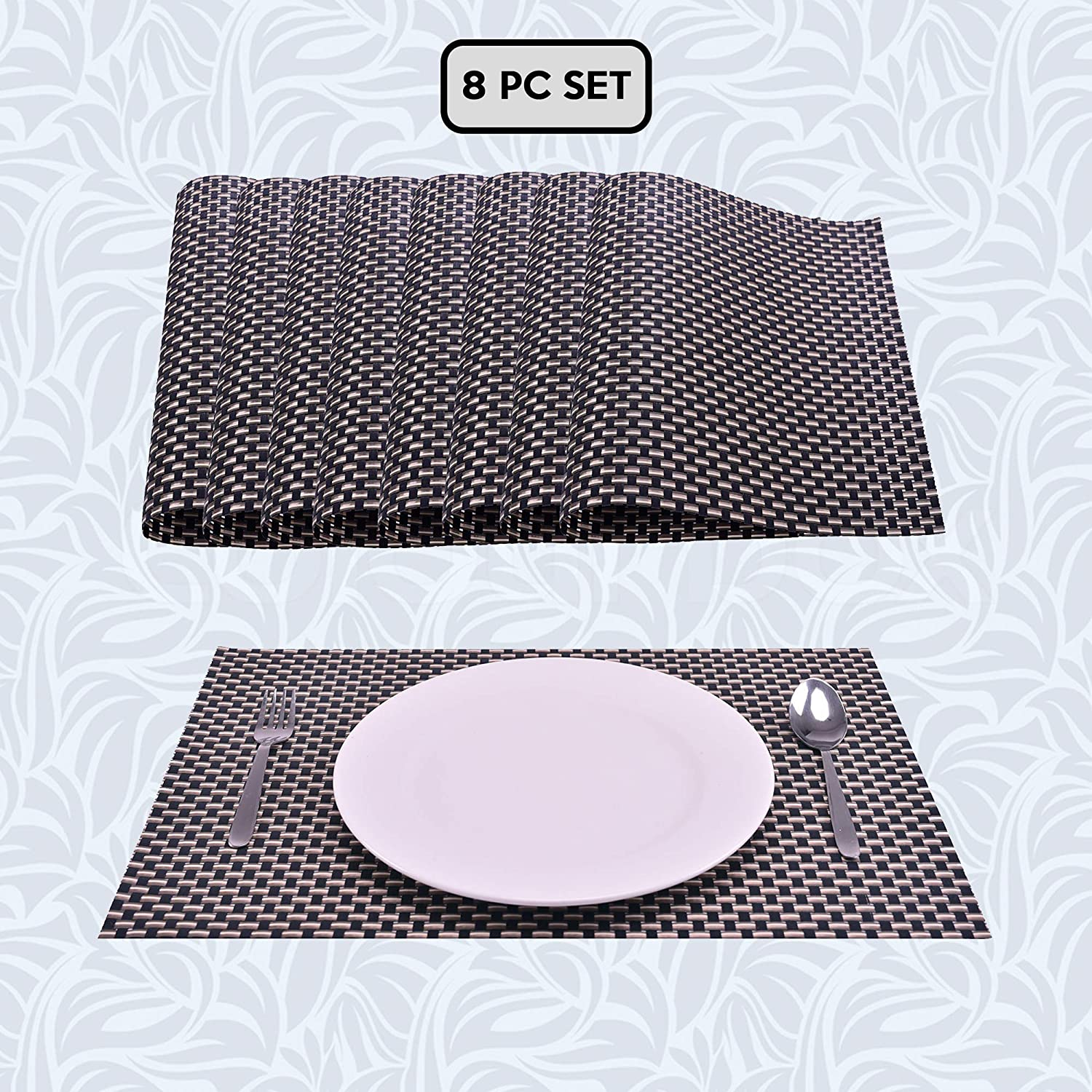"""Decozen PVC Placemats Set of 8 for Dining Table Coffee Table Kitchen Mats Heat Resistant Anti Skid Washable Easy to Clean Woven Vinyl Placemats in Reusable Pouch 18""""x12""""- Black/Gold"""