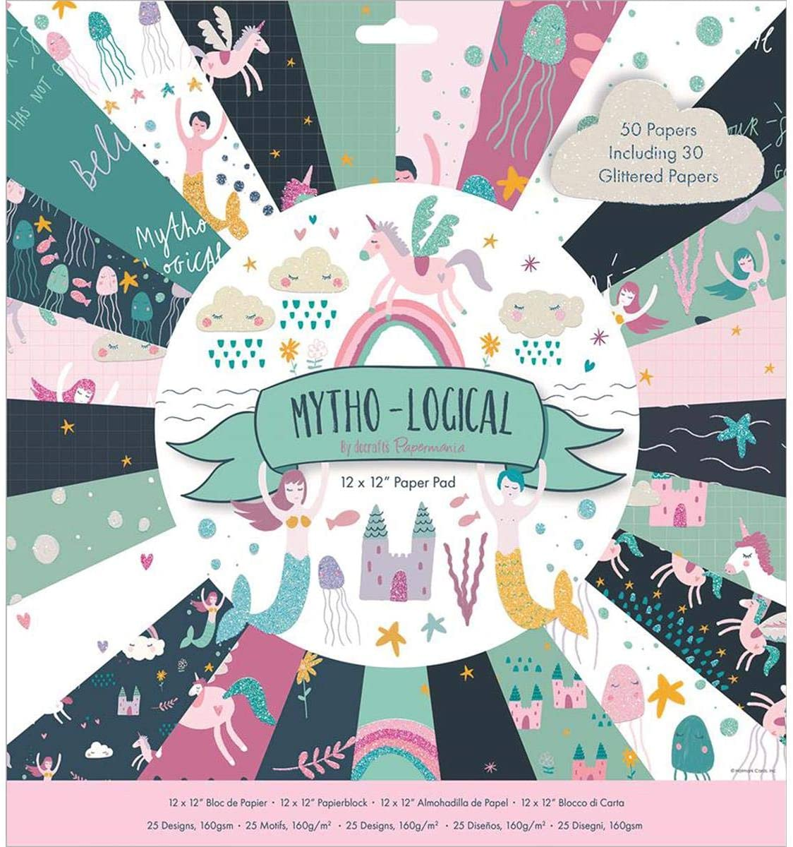 docrafts Paper Pad 12x12 Mytho-Logical, Multi-Colour