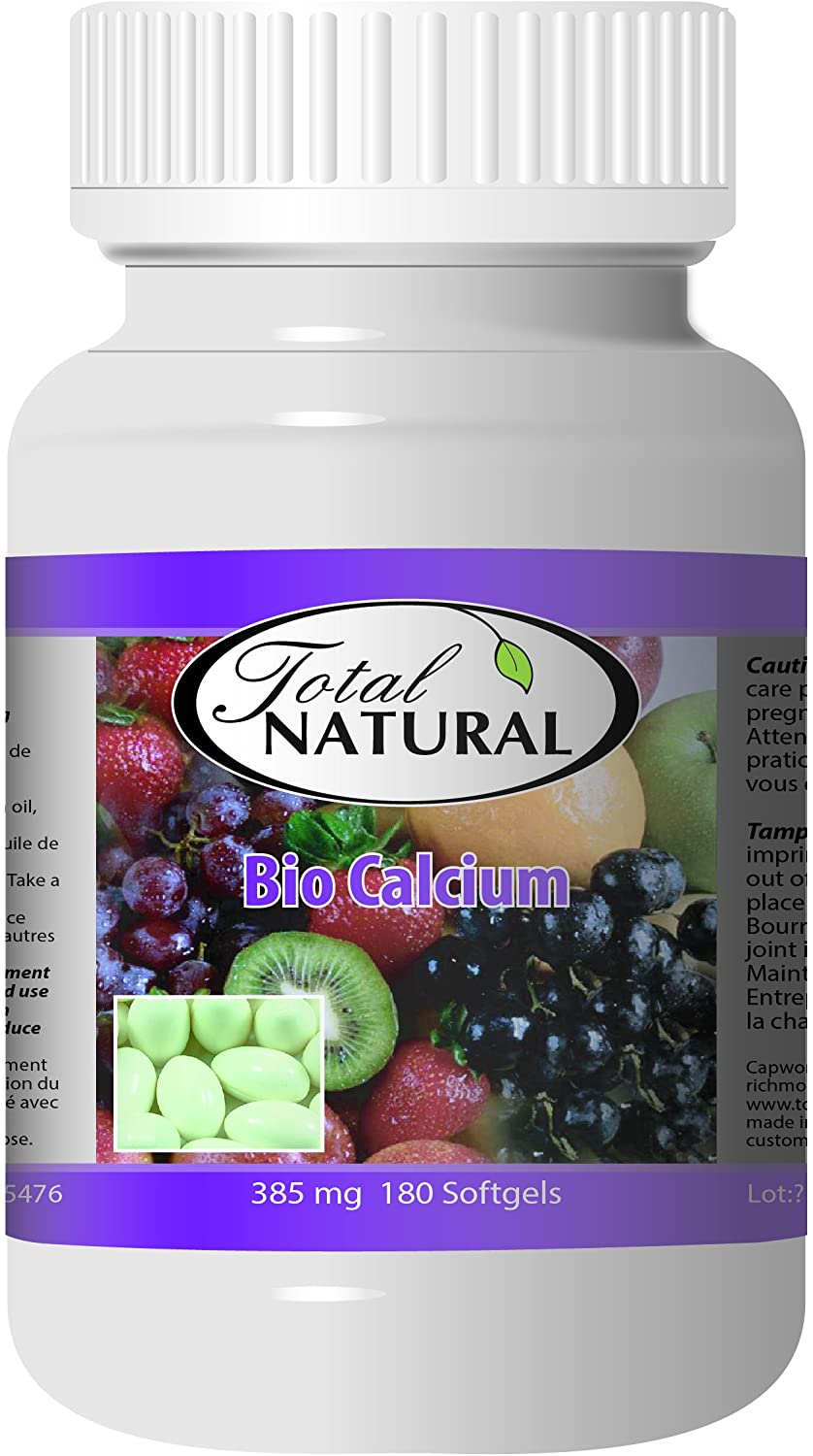 Bio Calcium 385mg 180s [2 Bottles] by Total Natural, Bone Health Support Supplement Promotes Uptake of Calcium, Joint Health