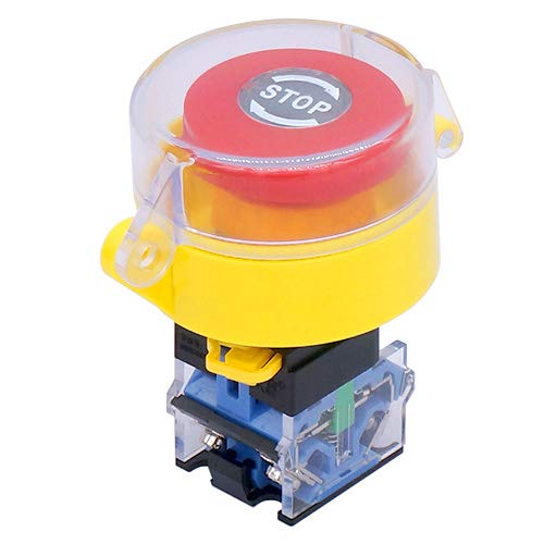 Taiss / 22mm 1 NC 1 NO Red Mushroom Latching Action Emergency Stop Push Button Switch 10A 440V Add Protection Cover LA38A-11ZS/STOP-Z