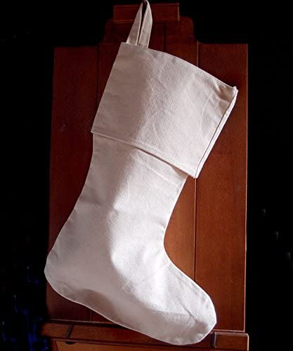 AK-Trading Canvas Holidays Christmas Stockings - Pack of 12 - Natural Canvas, 8