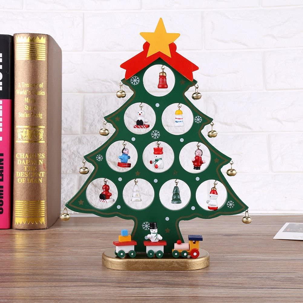 TOYMYTOY Cartoon Wooden Christmas Tree Set Ornaments DIY Home Decoration,Green