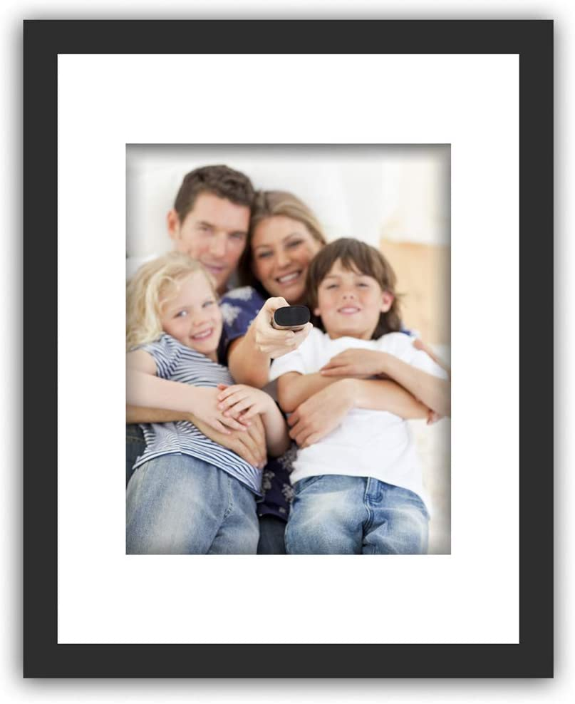 SmartWallStation 11x14 Tempered Glass Wood Frame Black, 3X Mat Fit Family Photo Pictures 8x10, 2 Holes 4x6, 5x7 inch Office Kids Painting Mounting Vertical Horizontal Desktop Wall Support (1)