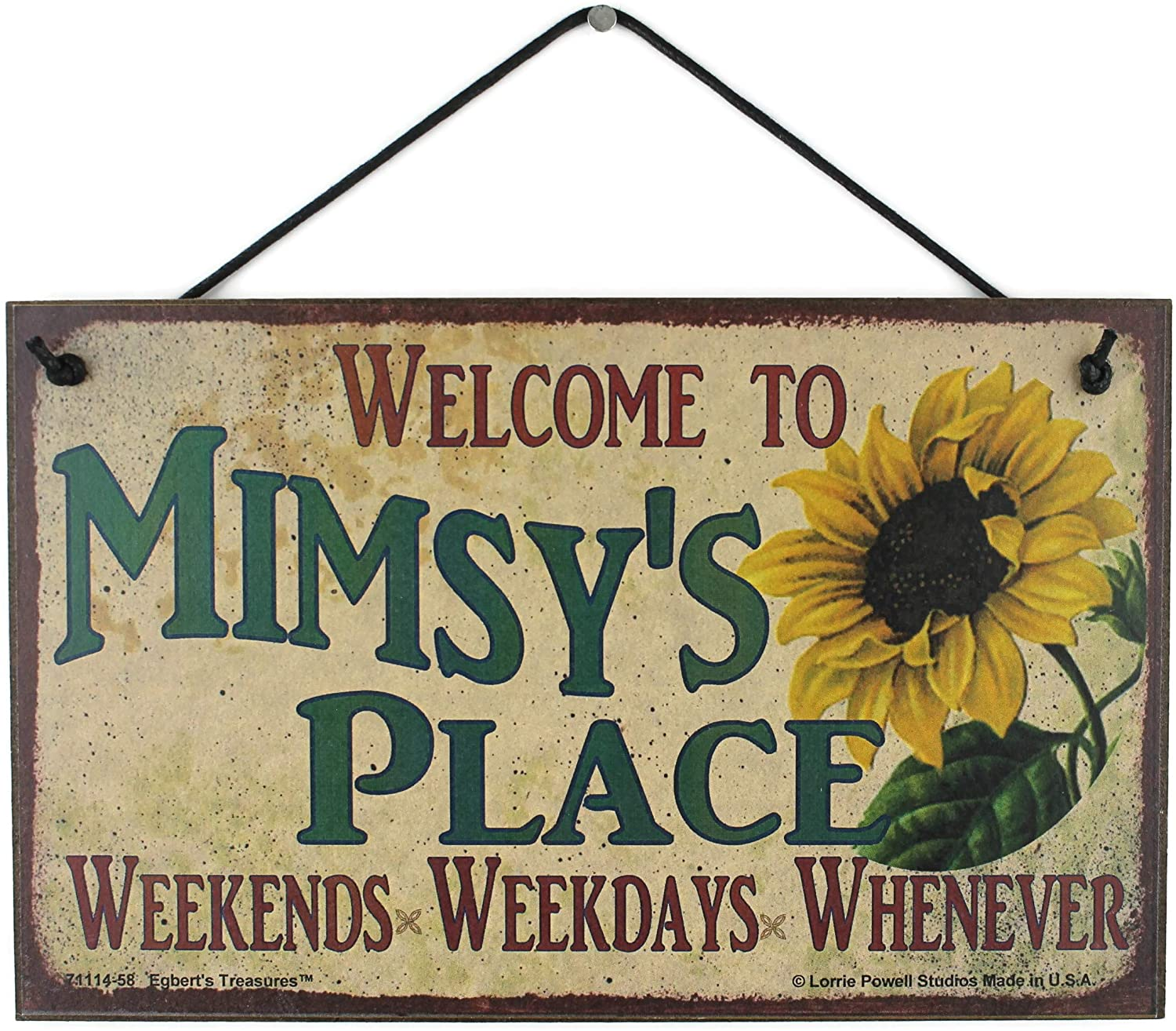 Egbert's Treasures 5x8 Vintage Style Sign with Sunflower Saying, Welcome to MIMSY'S Place Weekends, Weekdays, Whenever Decorative Fun Universal Household Family Nickname Signs for Grandma