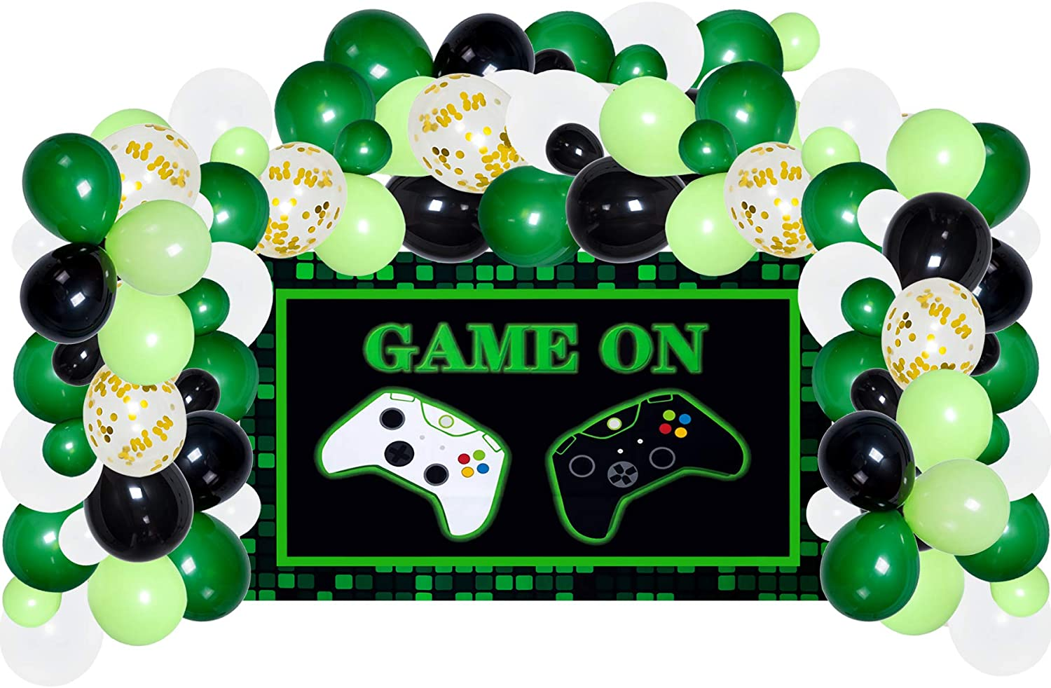 Video Game Party Supplies Decorations, Backdrop and Balloon Garland Arch Kit for Kids Photo Background(include balloon tying tool,balloon glue dot points,balloon strip)