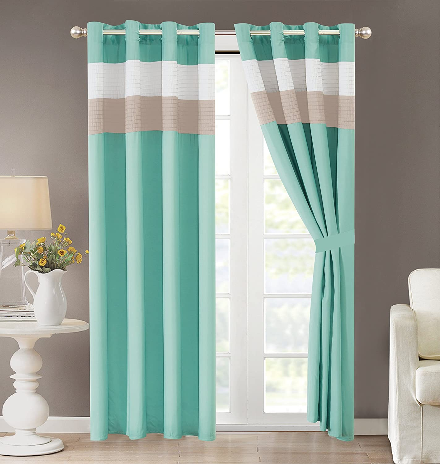 Grand Linen 4 Piece Regatta Turquoise Blue/White/Grey Pin Tuck Stripe Curtain Set with Attached Valance and Sheers