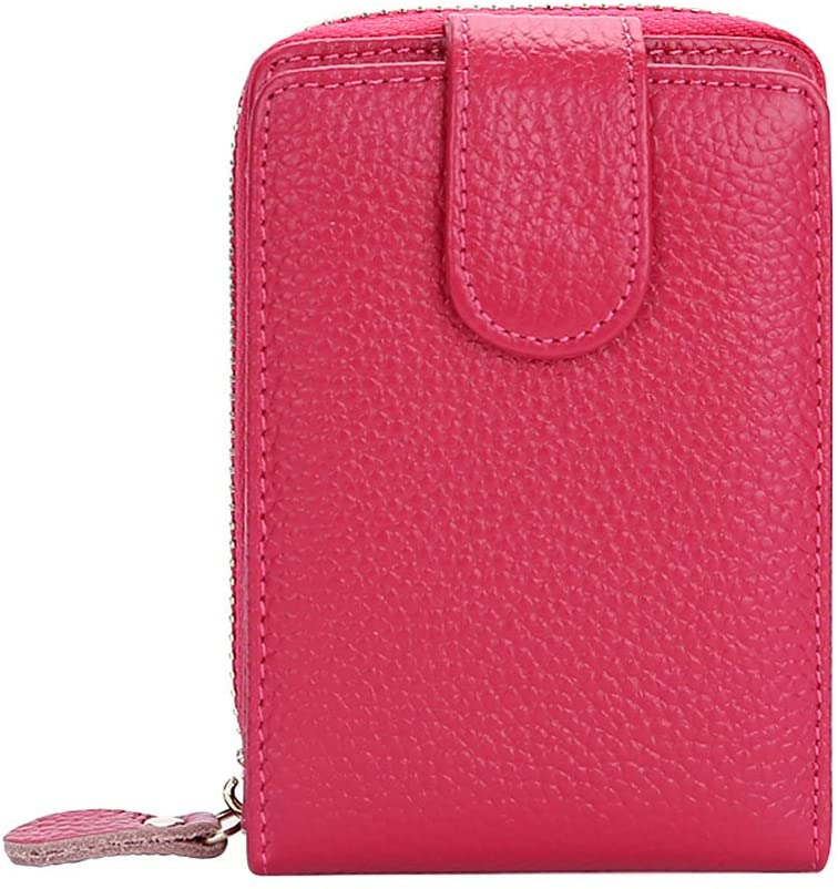Leather Credit Card Holders Case Wallet with Zipper, Red
