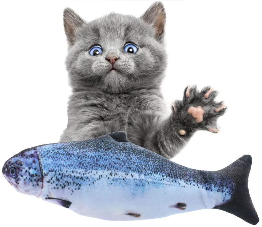 Aonokey Electric Fish Catnip Toys Cat Toy Stuffed Fish Catnip Mint Plush Toys Chewing Play Catch Arowana and Grass Carp Funny(2)