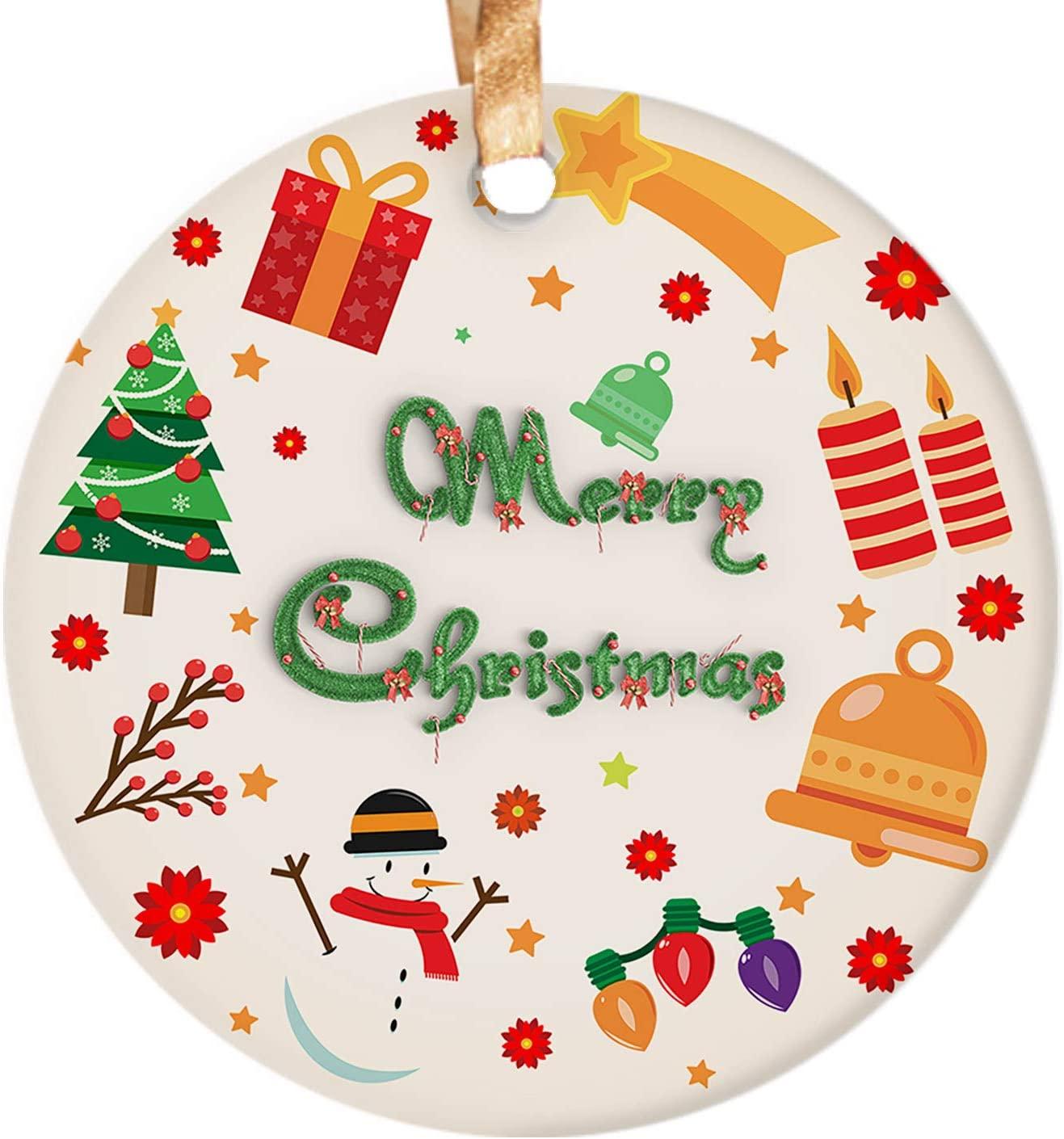 Dadidyc Merry Christmas Snowman Bell Christmas Trees Lights Print 3