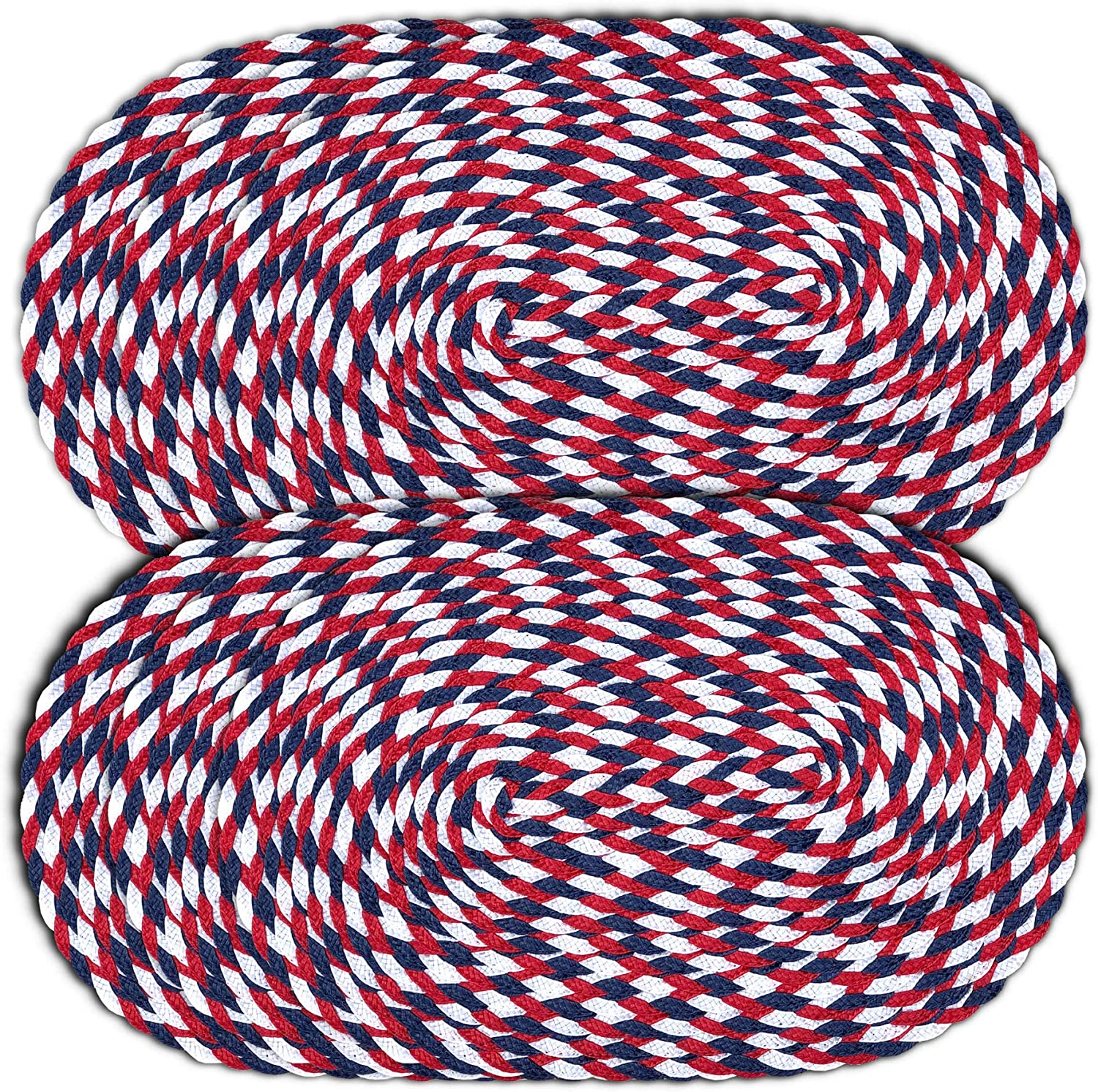 CAIT CHAPMAN HOME COLLECTION Americana July 4th 12x18-Oval Braided Woven Polypropylene Plastic Placemats, Set of 6