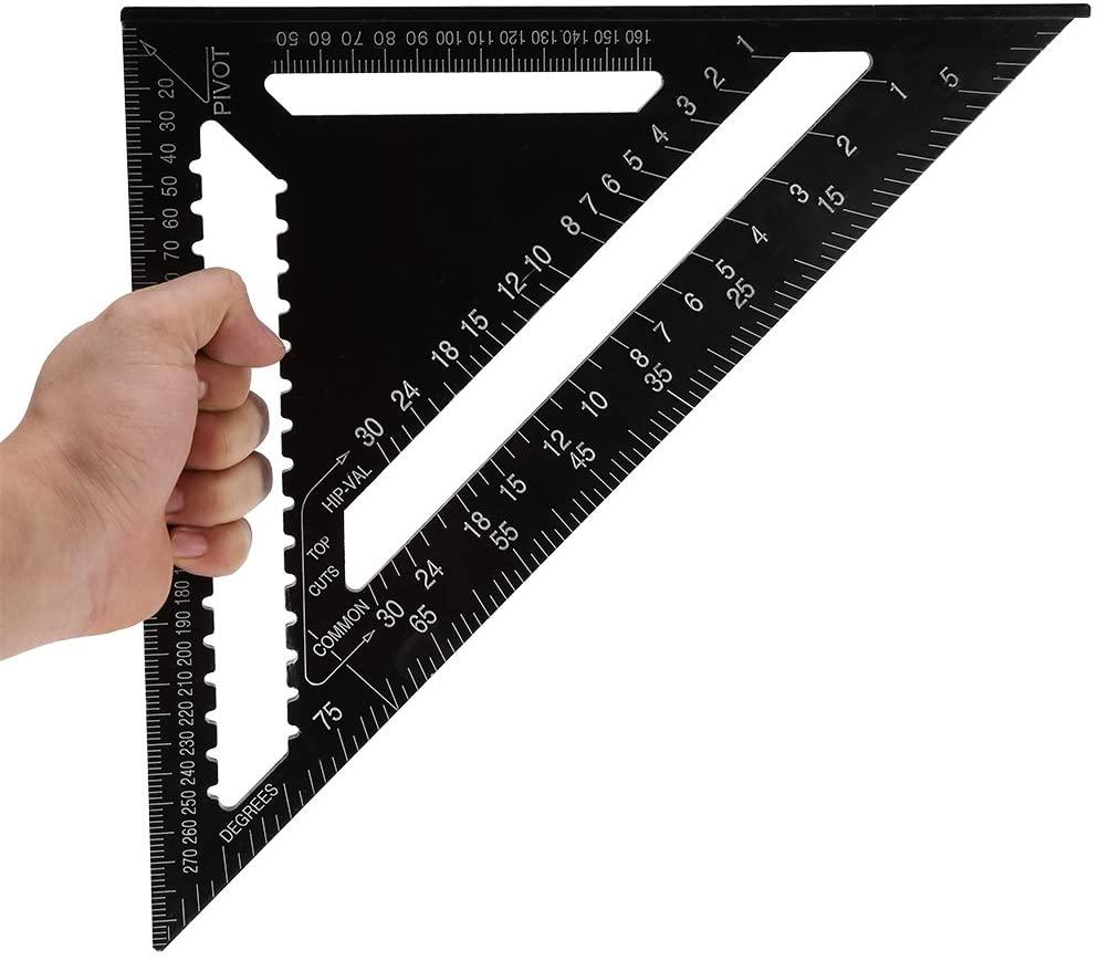 Cosiki Square Ruler, Aluminum Alloy Shape Square Ruler Precision Engineer Carpenter Measuring Tool,12 Inch