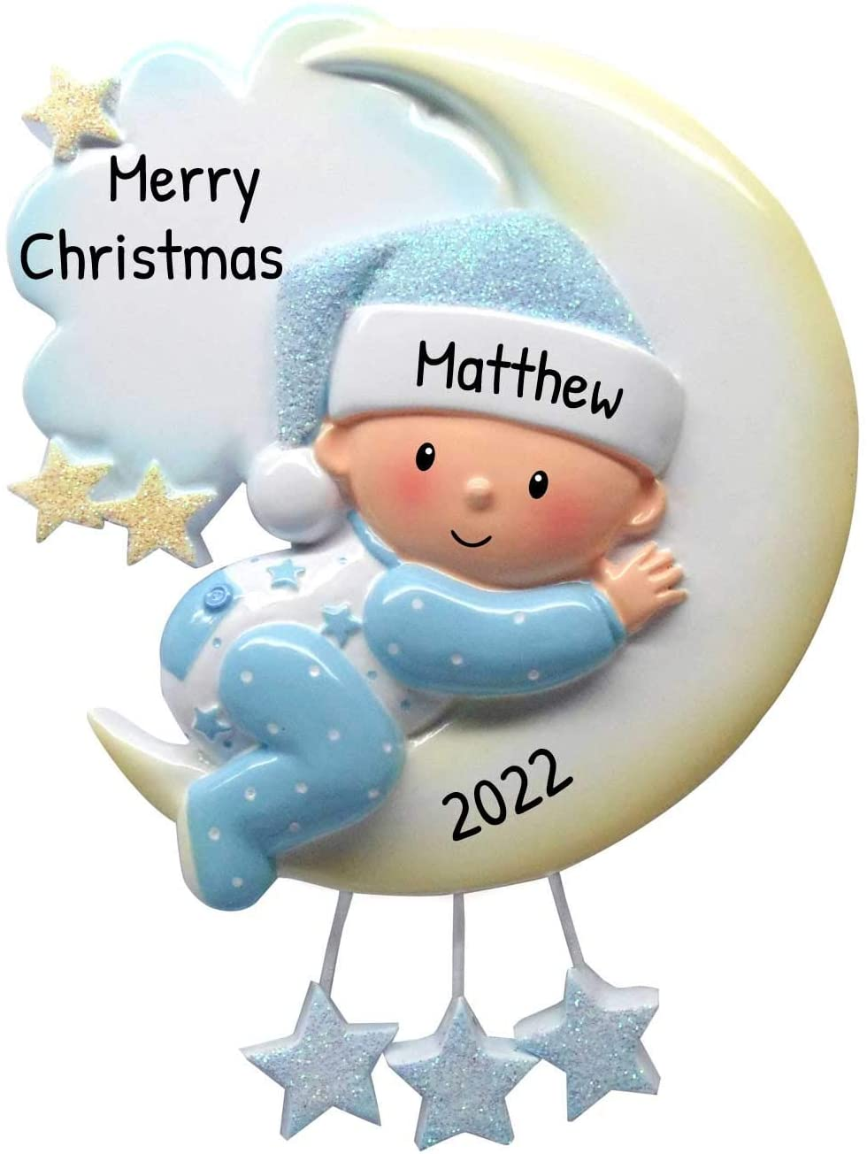 Personalized Baby on Mr. Moon Christmas Tree Ornament 2020 - Boy Pajamas Glitter Sleep Hat Hug Bed Clouds Stars First New Mom Shower Gift Grand-Son Kid Pjs Mobile Year - Free Customization (Blue)