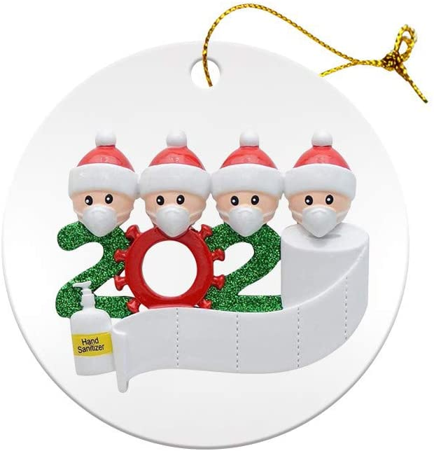 OTTOPT 2020 New Christmas Pendant Decoration, Single-Sided Wooden/Ceramic �Survivor Number of People� Pendant Ornament, Can Hang for Christmas Tree, Door or Windows and More. (4 People, Wood)