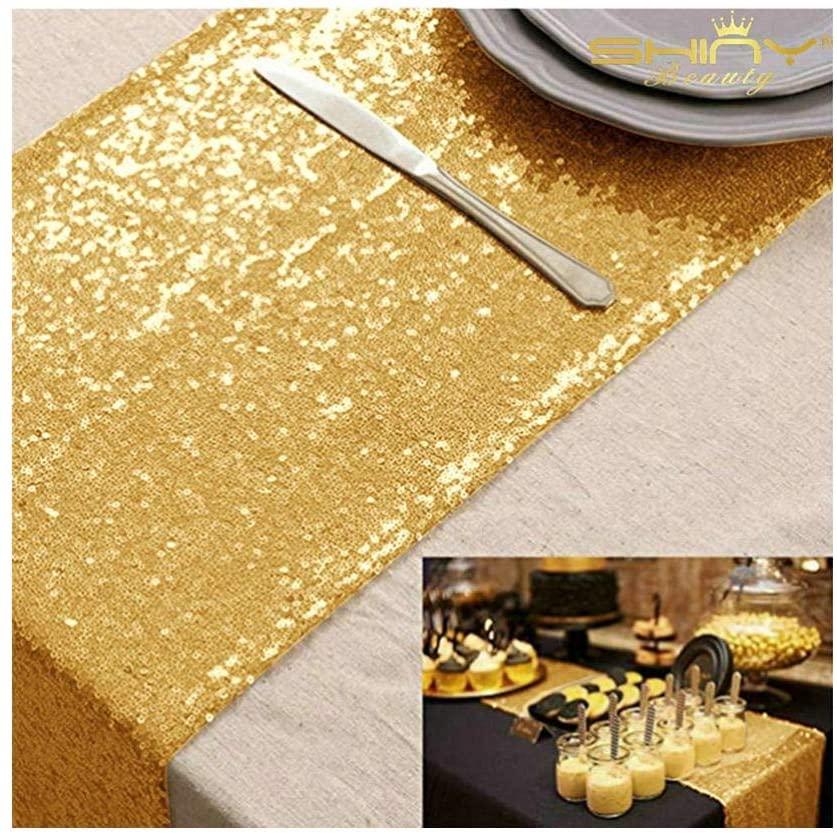 Table Runner 2 Pack Sequin Table Runners Gold 12inx108in Curtains Glitter Runner for Weddings (Shiny Gold) -0116S