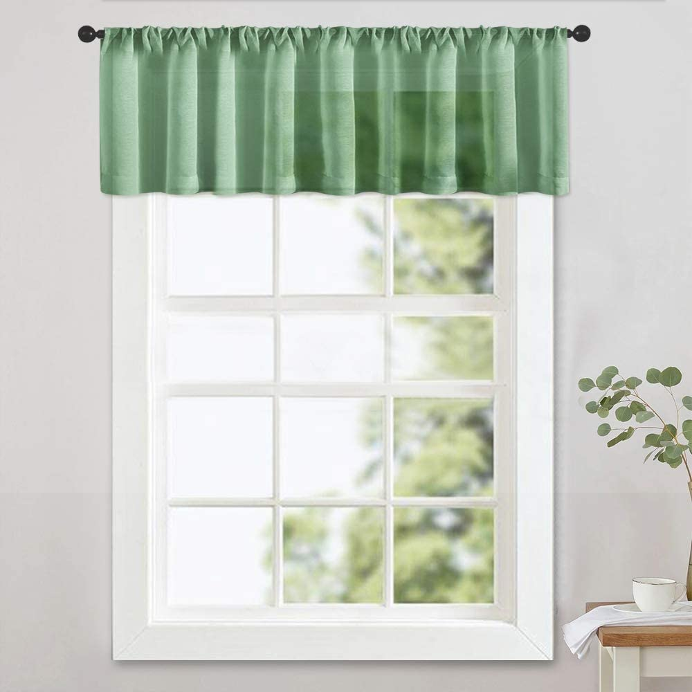 MRTREES Sheer Valances 16 inches Long Living Room Bedroom Valance Sheer Curtain Light Filtering Rod Pocket Small Window Treatment 1 Panel Olive Green