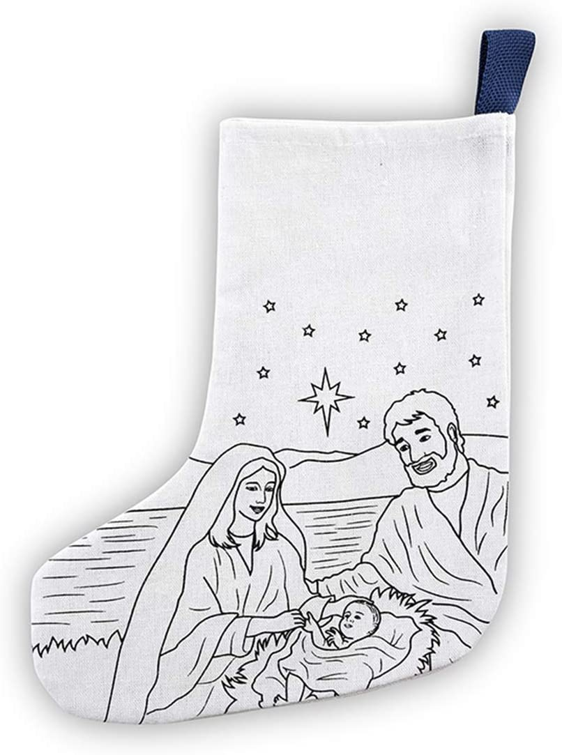 Christmas Holiday Crafts for Kids Color Your Own Nativity Scene Stocking, 10 Inch