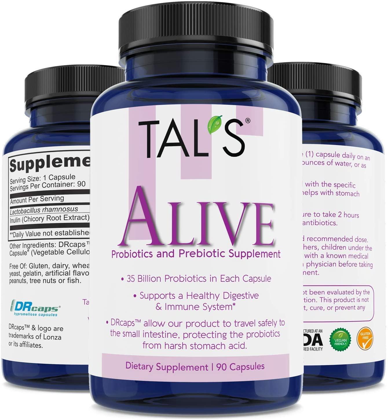TAL'S Alive Probiotics & Prebiotics Supplement   90ct - 35 Billion CFU   DR Caps for Effective Absorption  Promotes Healthy Immune Digestive Health   Improve Your Gastrointestinal (GI) System