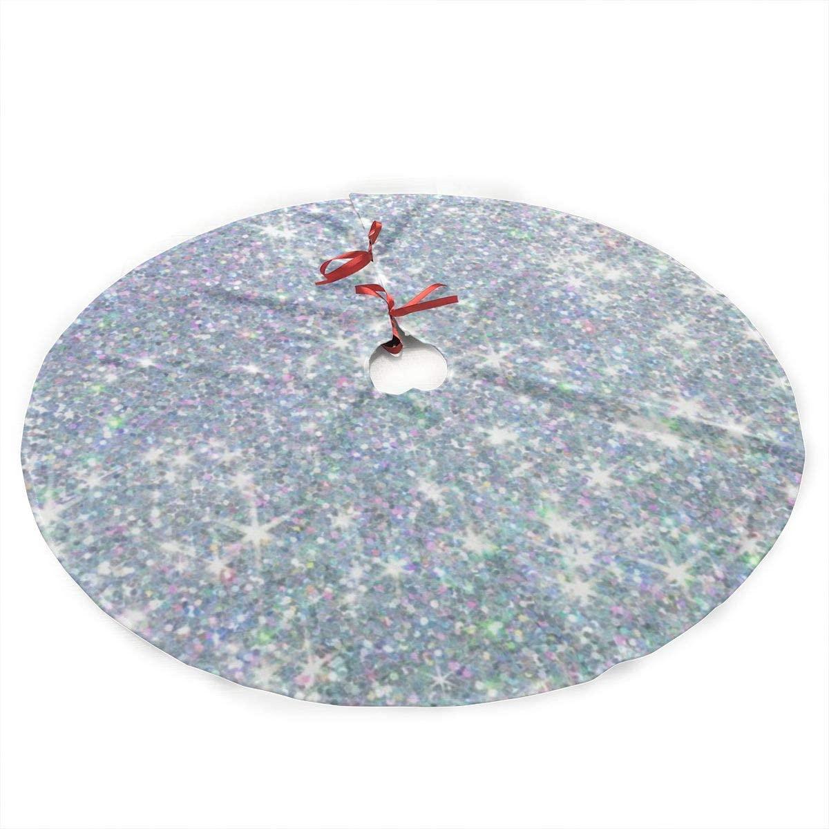antkondnm Shiny Silver Background Christmas Tree Skirt - 36