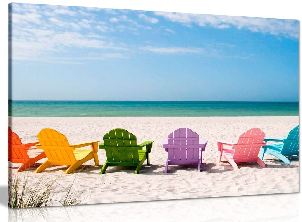 Beach Chairs Canvas Wall Art Picture Print (30x20in)
