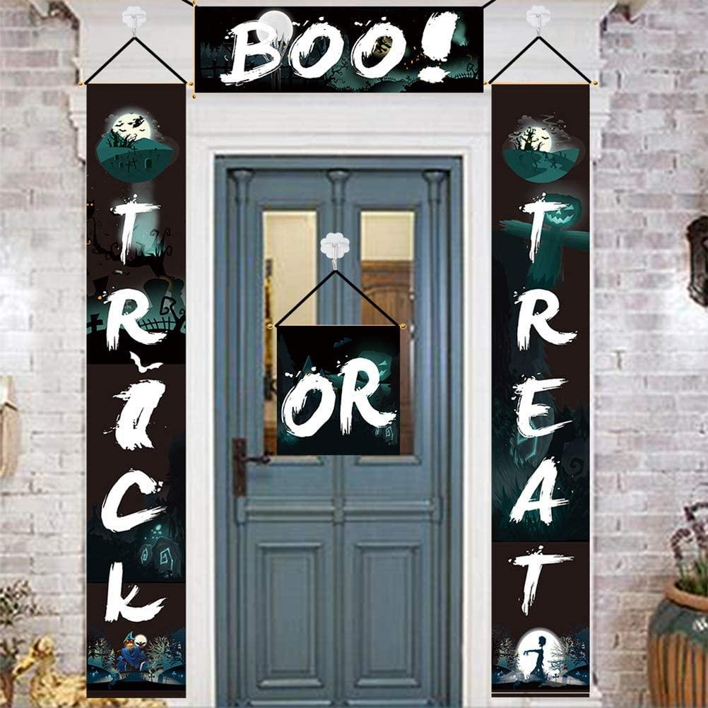 2020 Happy Halloween Door Banner   Trick or Treat Banner Door Sign   Halloween Banner   Halloween Porch Decoration   Halloween Door Couplet Curtain   Halloween Party Supplies
