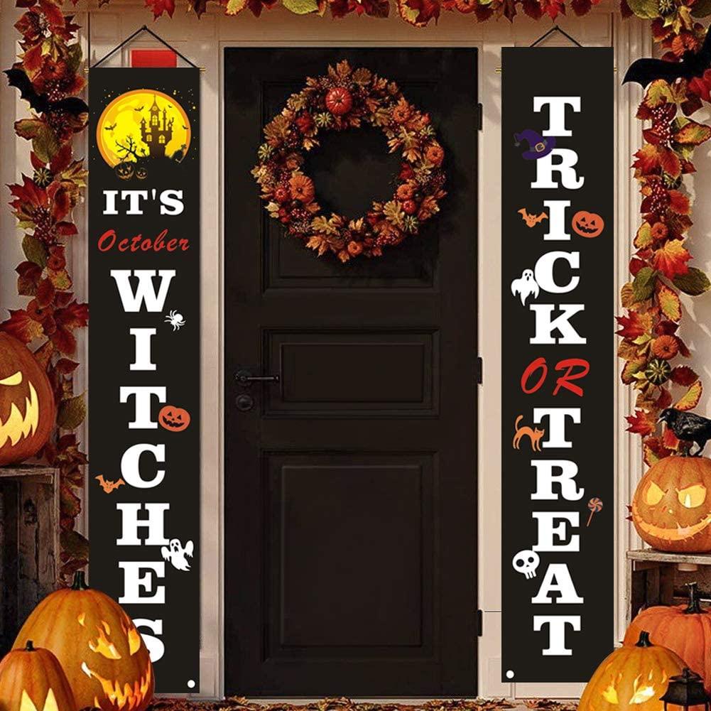 Halloween Decoration Door Sign Banner,Trick or Treat Halloween Banner,Halloween Decorations Outdoor Signs for Home Garden Office Porch Front Door Hanging Decor