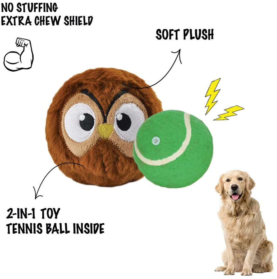 HugSmart Pet - Zoo Ball | Dog Chew Toy |2-in-1 Squeaky Tennis Balls for Dog |No Stuffing Interactive Plush Dog Balls | Small Medium Large Dog Ball | Indestructible Durable Toys