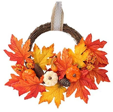 ARTIFUN Artificial Fall Wreath Pumpkin Pine Cone Maple Wreath for Front Door Home Wall Decoration Thanksgiving Harvest Christmas Halloween Party Supply